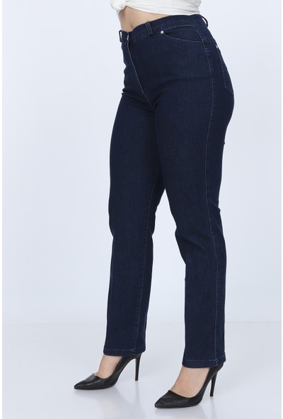 Gül Moda Bayan Büyük Beden Kot Pantolon Boru Paça Lacivert