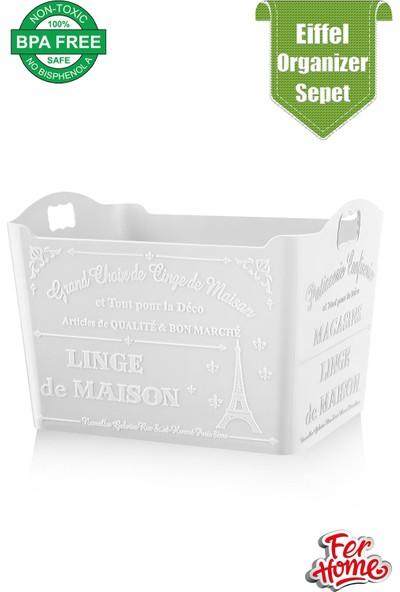 Ferhome Eiffel Desenli Organizer Sepet 3 Lt Ev Mutfak Banyo Düzenleyici Saklama Kutusu