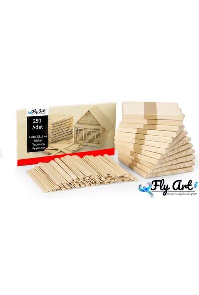 Fly Art Dil Çubuğu 250 Adet Abeslang Naturel Geniş Jumbo Maket Hobi Okul 250 Parça Dil Basma Çubuğu Dondurma Çubuğu