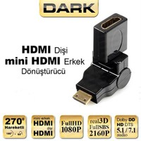 Dark Mini HDMI 270° Derece Dönüştürücü Dirsek (mini HDMI Erkek - HDMI Dişi) (DK-HD-AFXMM270)