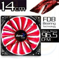 Aerocool Shark Serisi 14cm Kırmızı LED'li Sessiz Kasa Fanı (AE-CFSH140R)