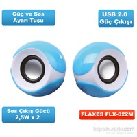 Flaxes FLX-022 2.0 PMPO 130W USB Mavi Speaker