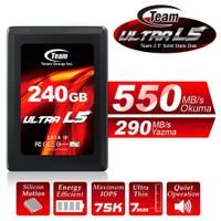 """Team Ultra L5 2.5"""" 240GB 550MB-290MB/s Sata3 7mm UltraBook Uyumlu SSD (TMSSDL5ULTRA240G)"""