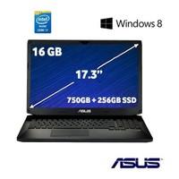 """Asus ROG G750JH-T4168H Intel Core i7 4700HQ 2.4GHz / 3.4GHz 16GB 750GB + 256GB SSD 17.3"""" Taşınabilir Bilgisayar"""