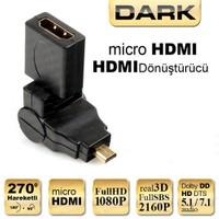 Dark Micro HDMI 270° Derece Dönüştürücü Dirsek (micro HDMI Erkek - HDMI Dişi) (DK-HD-AHDMIXM270)
