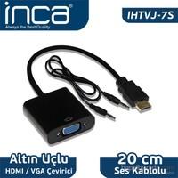 Inca IHTVJ-7S HDMI to VGA Siyah Jaklı Ses Kablosu