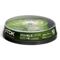 TDK 8X Double Layer 10'Lu Cakebox DVD+R DVD+R85DLCB108X