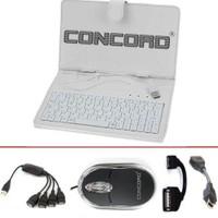 """Concord 7"""" Beyaz Türkçe Klavyeli Kılıf+Optik Mouse+4 Port HUB+2 OTG USB"""