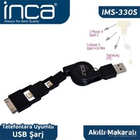 Inca IMS-330S iPad 2/New iPad/iPad 4/iPad Mini Siyah Makaralı Şarj Kablosu