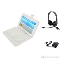 """Mobee Nett 9"""" Beyaz Klavyeli Klıf + Mouse + Mikrofonlu kulaklık"""