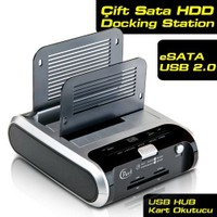 Dark Combo DS03NW Çift Sata HDD Yuvalı Kart Okuyuculu eSATA/USB2.0 Docking Station (DK-AC-DS03NW)