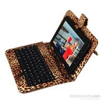 """Mobee 7"""" Leopar Desenli Mikro USB Türkçe Klavyeli Tablet Kılıfı"""