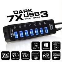 Dark Connect Master 7xUSB 3.0 + 1x2A USB Hızlı Şarj Çıkışlı Adaptörlü USB Hub (DK-AC-USB371)