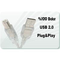 Qport QC-034 USB 2.0 1,5m Şeffaf Yazıcı Kablosu