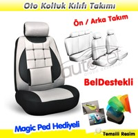AutoCet G Nokta Ortapedik Gri-Siyah Oto Koltuk Kılıfı (MagicPad Hediyeli)