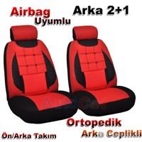 Stil Ekostar Fiat DOBLO Kırmızı-Siyah 2+1 Oto Koltuk Kılıfı (31357)