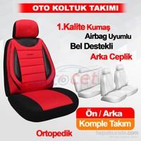 Stil Avangard KIRMIZI-SİYAH Lüx Ortopedik Oto Koltuk Kılıfı 4192a
