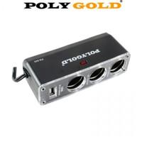 PolyGold USB Çıkışlı 3'lü Çakmak Çoklayıcı 12 V/24 V Soket 11220