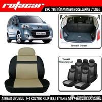 Peugeot Partner Koltuk Kılıfı Bej Siyah Kket006