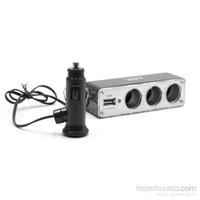 ModaCar 1 Çakmak Girişinden 1 USB 3 Çakmak Çıkışlı Çoklayıcı Soket 43a007