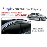 Krom Çıtalı Mugen Tip (Sunplex Chrome) Hyundai Accent Blue Cam Rüzgarlığı