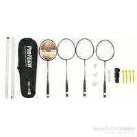 Protech Badminton Raket Seti - 4 Adet Raket + 3 Adet Top + File + Çanta