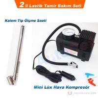 AutoCet 2 Li Lastik Tamir Seti (Hava Kompresör,Kalem Tip Ölçme Saati) (51440)