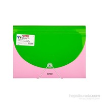 Bigpoint Yeşil - Pembe Körüklü Dosya 13 Cepli A4 Pop