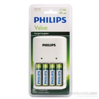 Philips SCB1492WB/62 200mAh AA/AAA 2 Lİ Şarj Cihazı, 4x AA 2450 mAh Pil Birlikte,Beyaz
