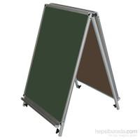 Akyazı 50x70 Emaye Üçgen Tip Çift Taraflı Yazı Tahtası (Yeşil)