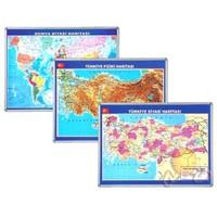İnter 70x100 Türkiye Fiziki Haritası Alüminyum Çerçeveli INT-815