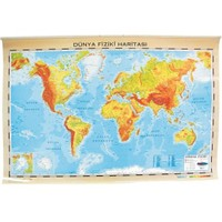 İnter 70x100 Dünya Fiziki-siyasi Haritası (çift Taraflı Çıtalı) INT-819