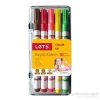 Lets 10 Renk Yarım Boy Plastik Kutu Keçeli Kalem L-7111