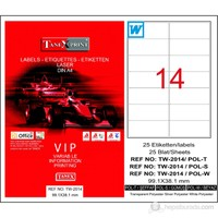 Tanex TW-2014 99,1x38,1 mm Polyester Laser Etiket 25 Ad.