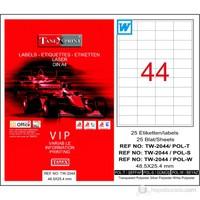 Tanex TW-2044 48,5x25,4 mm Polyester Laser Etiket 25 Ad.