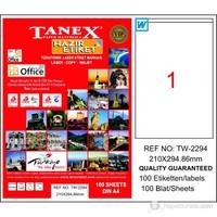 Tanex TW-2294 210x294,86 mm Laser Etiket 100 Ad.
