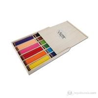 Vincent Trixi Supersoft Renkli Sap Kuru Boya Kalemi 144'lü Ahşap Kutu Set