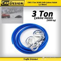 CarDesign 3 Ton %100 Çelik Çekme Halatı (8 mm) 3,5 Metre
