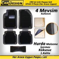 CarDesign Çıt Çıtlı Paspas Seti SİYAH 9 Parça (Her Araca Uygun) 4 Mevsim Kullanım