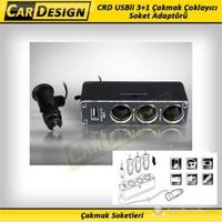 CarDesign USBli 3+1 Çakmak Çoklayıcı Soket Adaptörü