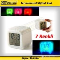 CRD 7 Renk Değiştiren Dijital Saat Termometre ve Alarmlı