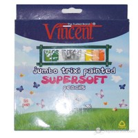 Vincent Trixi Supersoft Renkli Sap Kuru Boya Kalemi 12'li Set