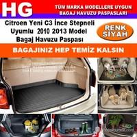 Citroen C3 İnce Stepneli 2010 2013 Siyah Bagaj Havuzu Paspası 38703