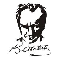 Z tech Kemal Atatürk imza kopyası ve vesika stickerı SİYAH (20x16cm)