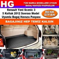 Renault Yeni Scenic 3 2012 Sonrası Siyah Bagaj Havuzu Paspası 39021