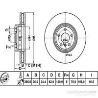 Bosch - Fren Diski Ön Hava Kanallı Kaplamalı Bmw X5-X6 3.0 - Bsc 0 986 479 635