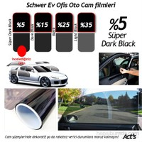 Schwer 100 Cm x 8 Mt Rulo Cam filmi %5 Süper Dark Black-8341