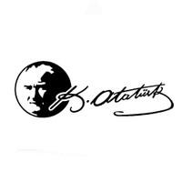 """Z tech """"Atatürk Portre ve imza """"Siyah Sticker 19 x 7 cm"""