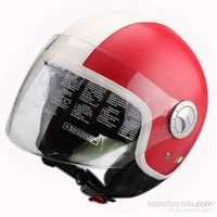 Sway 701 Open Face İtalyan Stil Deri ECER Sertifikalı Kırmızı Beyaz Yeşil Kask
