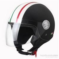 Sway 701 Open Face İtalyan Stil Deri ECER Sertifikalı Siyah Beyaz İtalyan Kask